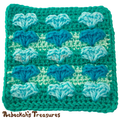 Sweetheart Kisses Square Crochet Pattern PDF $1.75 by Rebeckah's Treasures! Grab it here: http://goo.gl/rLZ86r #Hearts #Crochet #Valentines