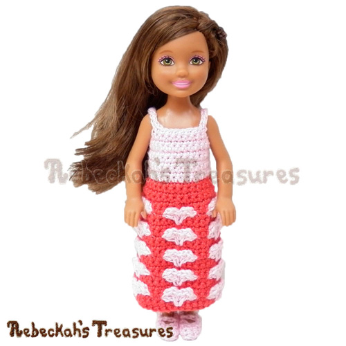 Free Sweetheart Kisses Girl Fashion Doll Dress Crochet Pattern by Rebeckah's Treasures! Grab it here: http://goo.gl/PNMDyn #Hearts #Crochet #Valentines