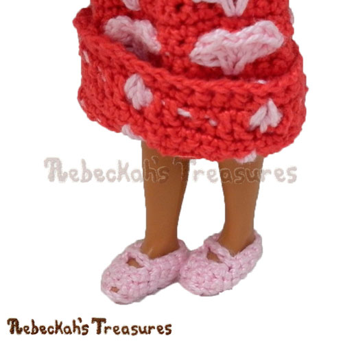 Free Mary Jane Girl Fashion Doll Shoes Crochet Pattern by Rebeckah's Treasures! See it here: http://goo.gl/mqOEjp #Hearts #Crochet #Valentines
