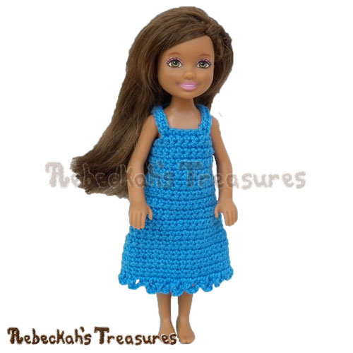 Free Simply Bluetiful Girl Fashion Doll Dress Crochet Pattern by Rebeckah's Treasures! See it here: http://goo.gl/t9t5MC #chelsea #barbie #dress #crochet #pattern
